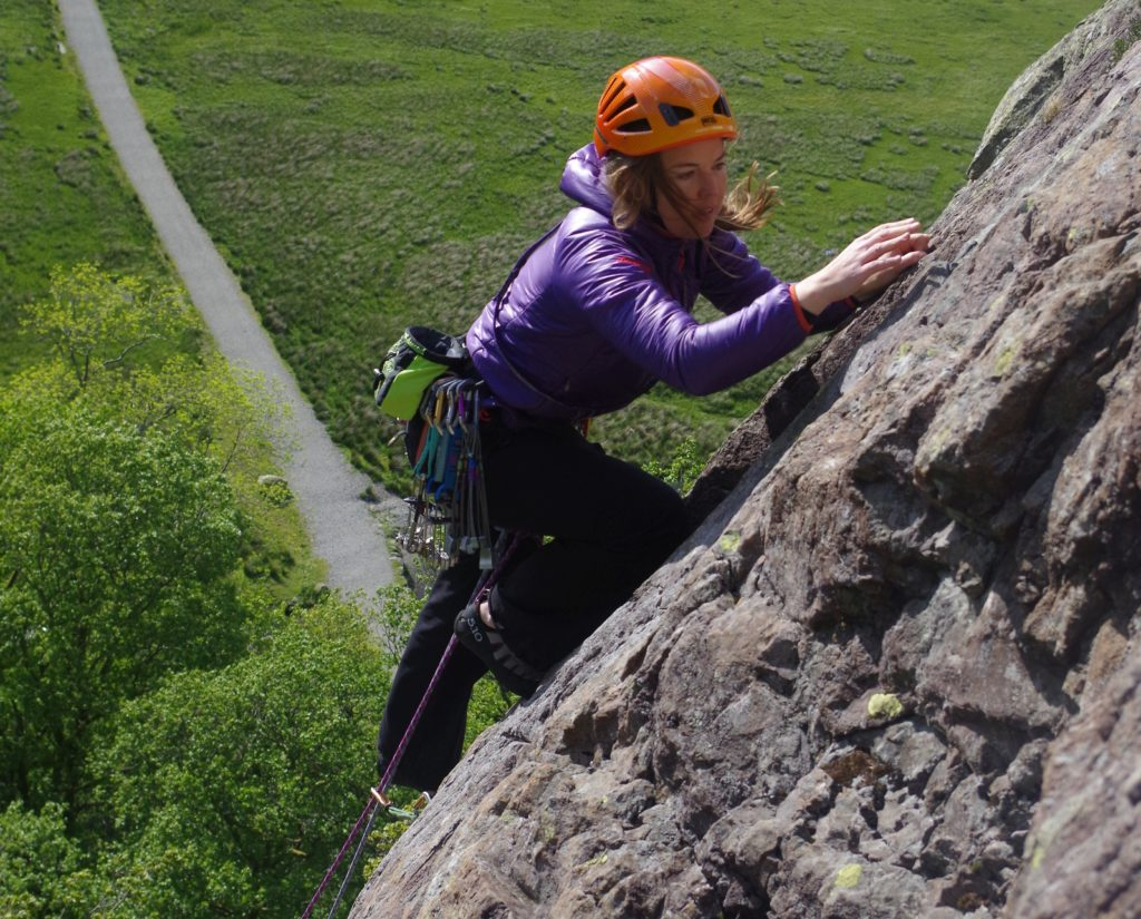 Borrowdale  - Shepherds Crag - Brown Slabs - Brown Slabs Face - Climber Claire Berry - Photo Ron Kenyon (12a)