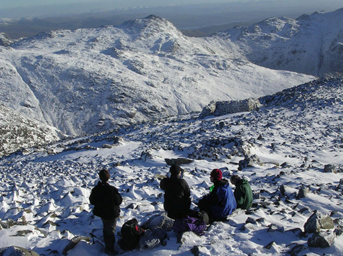 Bowfell from Scafell Pike in winter
